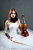 Girl in white dress with violin | Stock Foto