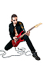 Guitarist with red guitar | Stock Foto