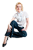 Woman in white blouse and jeans | Stock Foto