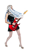 Girl guitarist with red guitar | Stock Foto
