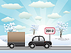 Vector clipart: car with trailer