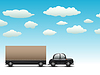 Vector clipart: black car with trailer