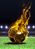 Fiery soccer ball on field | Stock Foto