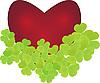 Векторный клипарт: сердечко с клеверными листьями