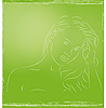 Vector clipart: girl on green