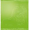 Векторный клипарт: девушка на зеленом