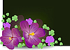Vector clipart: spring flowers with green leaves of clover