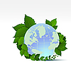 Vector clipart: globe and green leaves