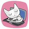 Vector clipart: Cute Cat On Laptop