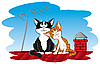 Vector clipart: Cats on the roof