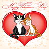 Vector clipart: Valentine`s day card with cats
