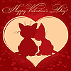 Valentine`s day card with cats | Stock Vector Graphics