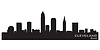 Cleveland, Ohio skyline. Detailed silhouette
