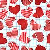 Векторный клипарт: Бумажные сердца на квадрат бумаги
