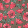 Vector clipart: seamless pattern with flowers
