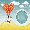 Vector clipart: Cute teddy bear with balloon