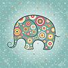 Vector clipart: Floral elephant