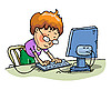 Boy With The Computer   Stock Illustration