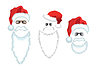 Vector clipart: Red Santa Claus Hat, beard and glasses