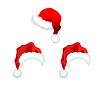 Vector clipart: Three red Santa Claus Hat