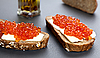Sandwiches With Red Caviar | Stock Foto