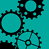 Vector clipart: Four Gearwheels