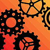 Vector clipart: Five Gearwheels