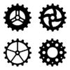 Векторный клипарт: Четыре чёрных шестрени