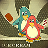 Vector clipart: Penguins with ice cream