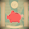 Vector clipart: Pink piggy bank - vintage card