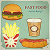 Vector clipart: vintage fast food menu