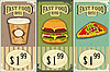 Vintage fast food labels | Stock Vector Graphics