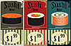 Vintage Sushi Labels | Stock Vector Graphics