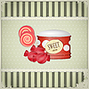 Vector clipart: vintage postcard with sweet candies