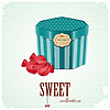 Vector clipart: vintage postcard - box and sweet candy