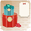 Vintage Birthday Card - gift box and blank note | Stock Vector Graphics