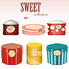 Vector clipart: candy gift boxes with labels
