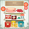 Vintage postcard - shop sweets, confectionery | Stock Vector Graphics
