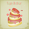 Vintage birthday card with cake | Stock Vector Graphics