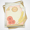 Vector clipart: Grunge paper with ears of wheat and flowers
