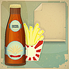 Vector clipart: Beer and Chips Menu in vintage style