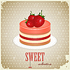 Vector clipart: Sponge Cake with Strawberry