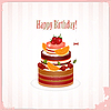 Vintage birthday card with Chocolate Berry Cake | Stock Vector Graphics