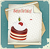 Vector clipart: Vintage birthday card with Chocolate Cherry Cake