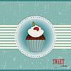 Vektor Cliparts: Schokoladenkuchen mit Kirsch