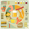 Vector clipart: Vintage Infographics set - Beer icons, Snack