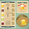 Vintage postcard, cover menu - Beer and snack