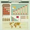 Vector clipart: Vintage infographics set - house construction