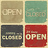 Vector clipart: set of signs: open - closed - 24 hours