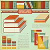 Vector clipart: Vintage infographics set - Books